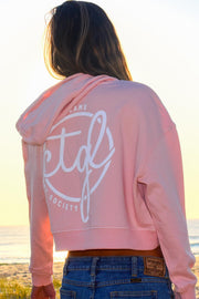 FOLLOW DREAMS CROP HOODIE - PINK WOMEN'S