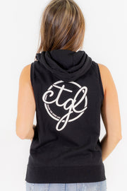 WOMEN'S SLEEVELESS ZIP HOODIE -  BLACK