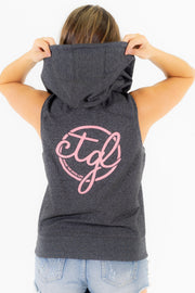 WOMEN'S SLEEVELESS ZIP HOODIE -  DARK HEATHER