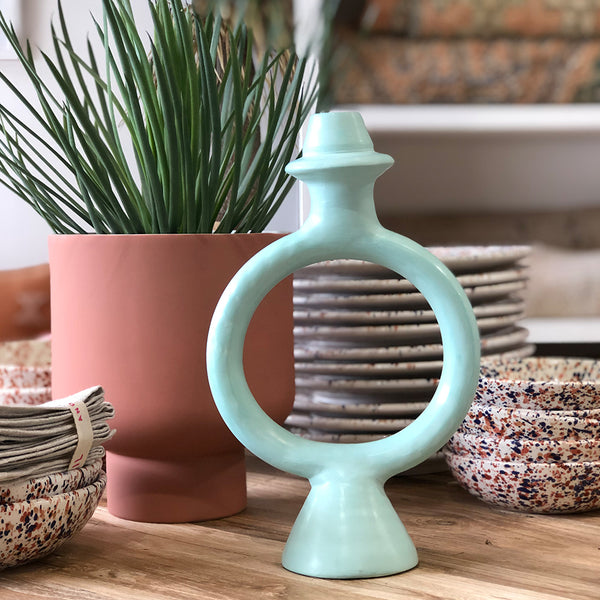 CHABI CHIC - Tadelakt Ring Candle Holder (Aqua)