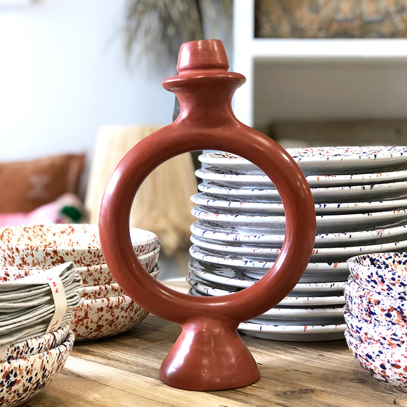 Tadelakt Ring Candle Holder (Marsala)
