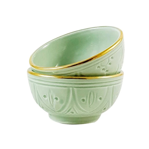 12 K Gold Engraved Bowl - Seafoam