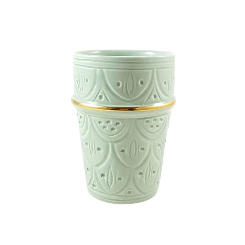 12 K Gold Engraved Cup - Seafoam