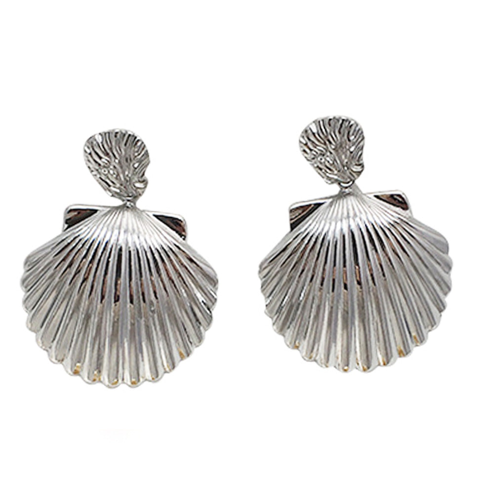Silver Shell Statement Earring