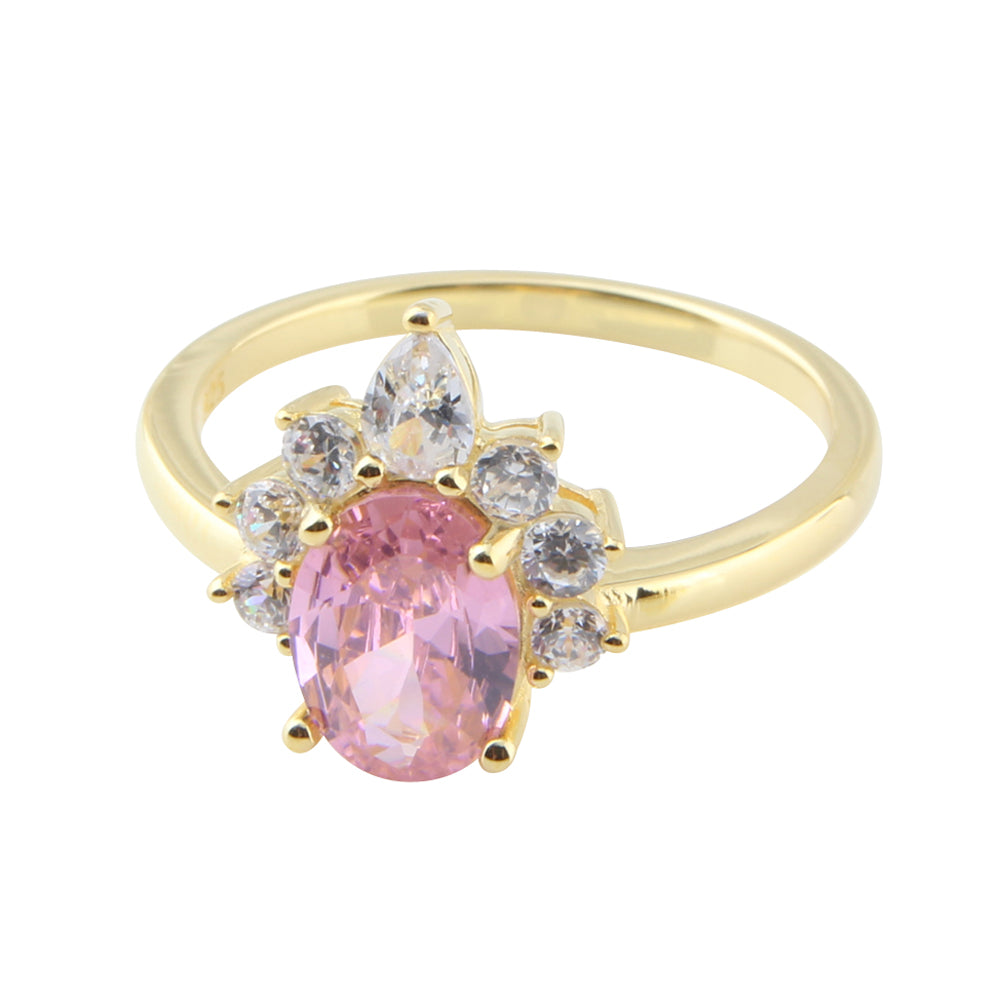 Ornate Pink Cubic Ring