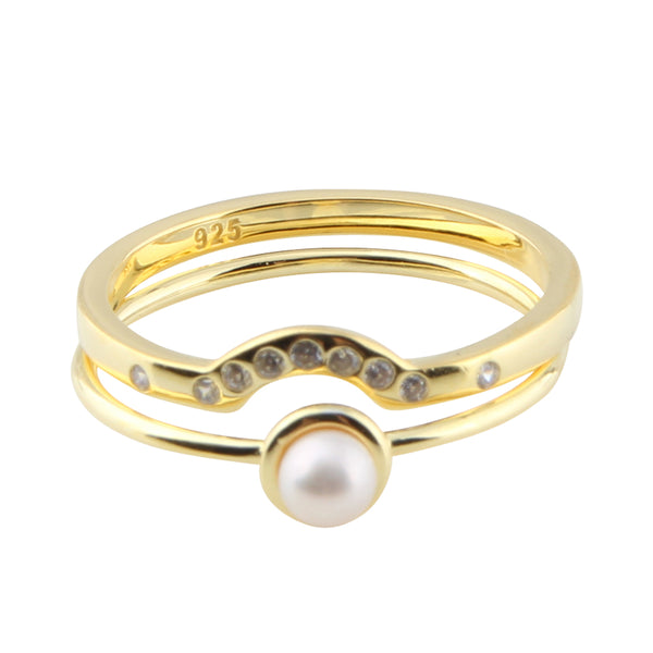 Pearl Cubic Ring Set