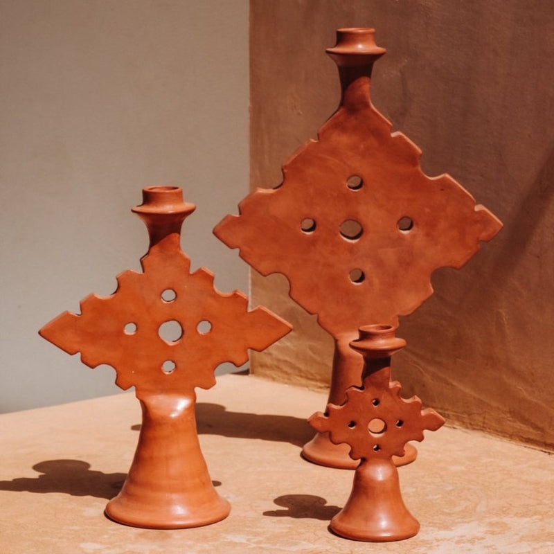 Tadelakt Diamond Candle Holder Terracotta