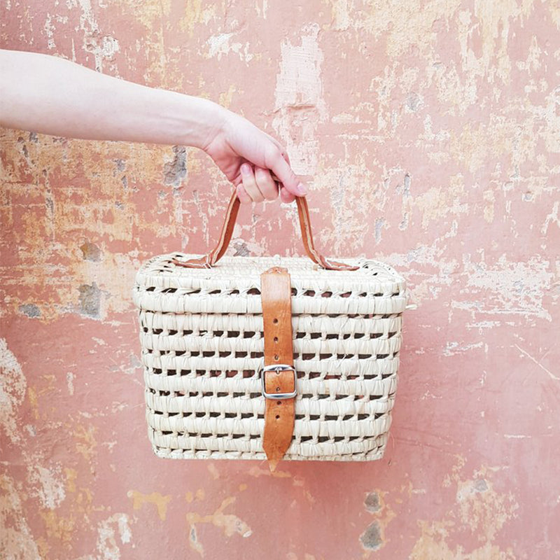 Palm Tree + Leather Picnic Basket