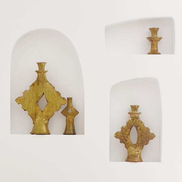 Tamegroute Yellow Triangle Candle Holders