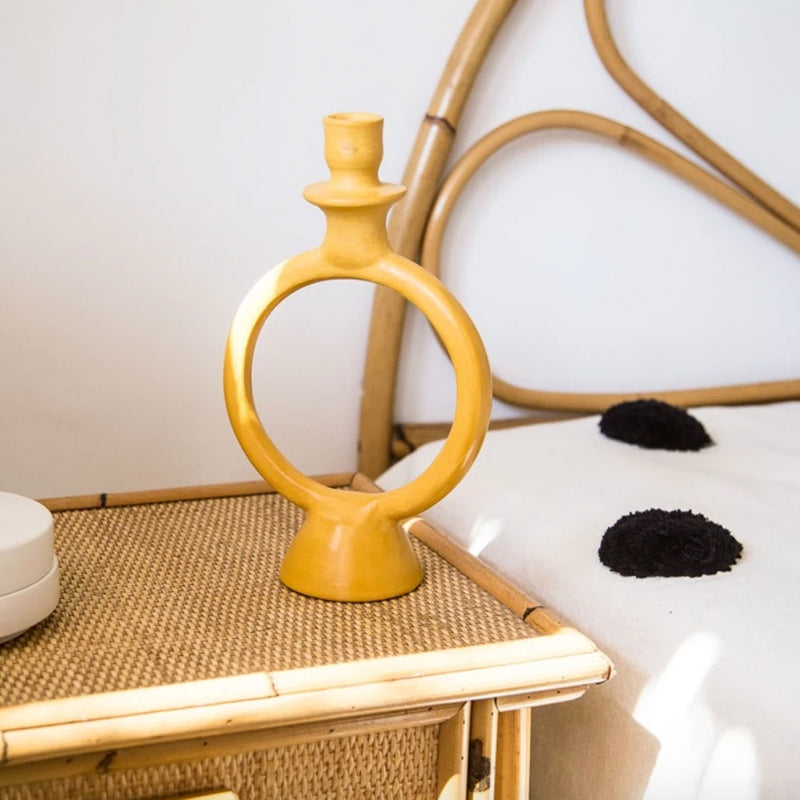 Tadelakt Ring Candle Holder Mustard