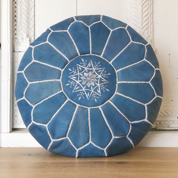 Moroccan Leather Pouffe Denim Blue