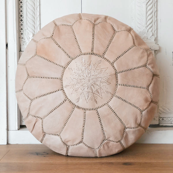 Moroccan Leather Pouffe Nude