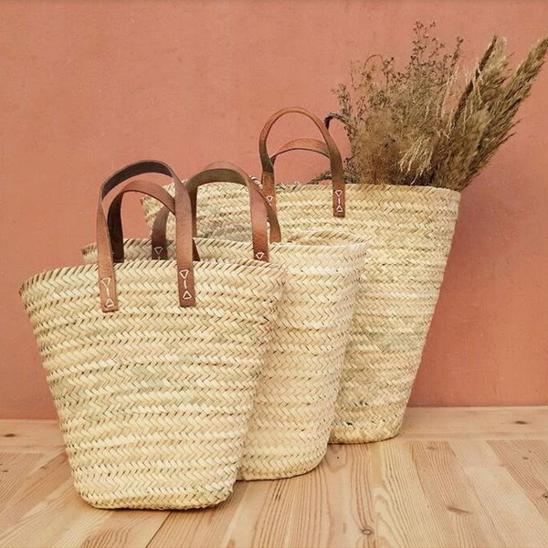 Palm + Leather Basket