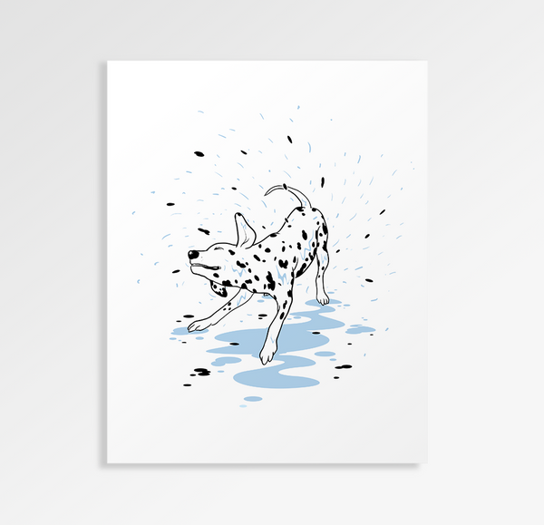 Dalmations Shower Day - Art Print