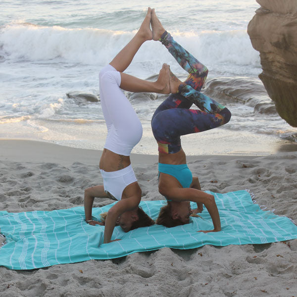 XL beach blanket yoga pose