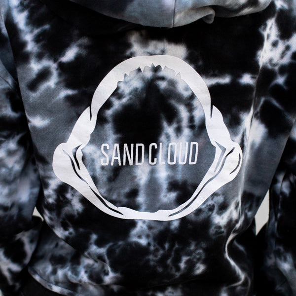 Black Acid Wash Jawshark Crop Top Hoodie - Sand Cloud