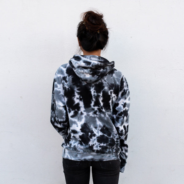 Black Acid Wash Three Palms Hoodie - Sand Cloud
