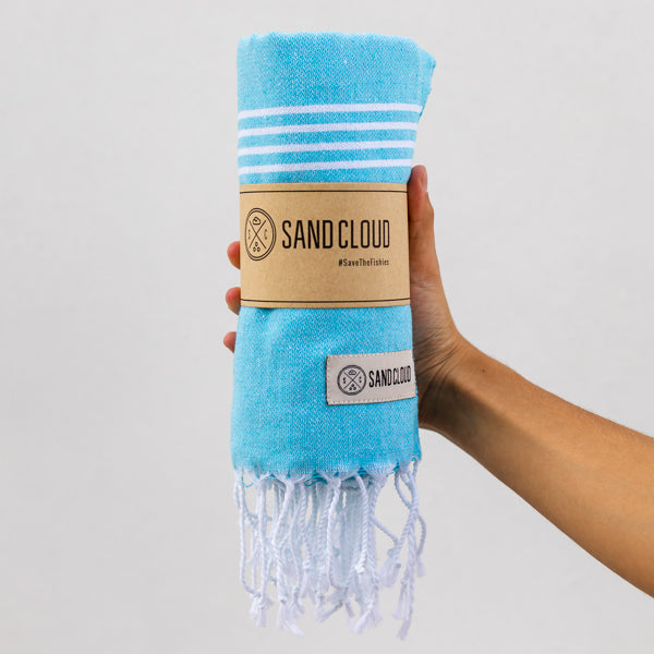 Aqua Blue Classic Stripes Recycled Towel