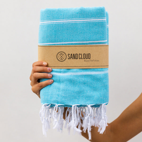Aqua Blue XL Classic Stripes Recycled Towel