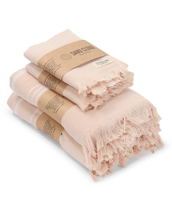 Blush Classic Stripe Bath Bundle