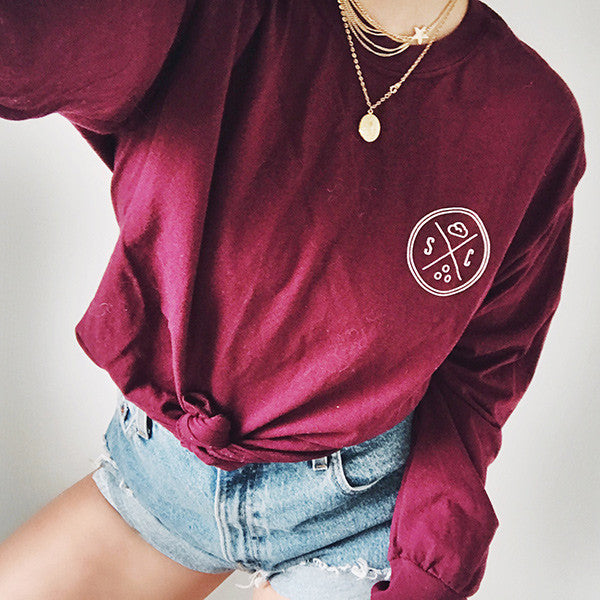 Burgundy Whale Tail Long Sleeve - Sand Cloud