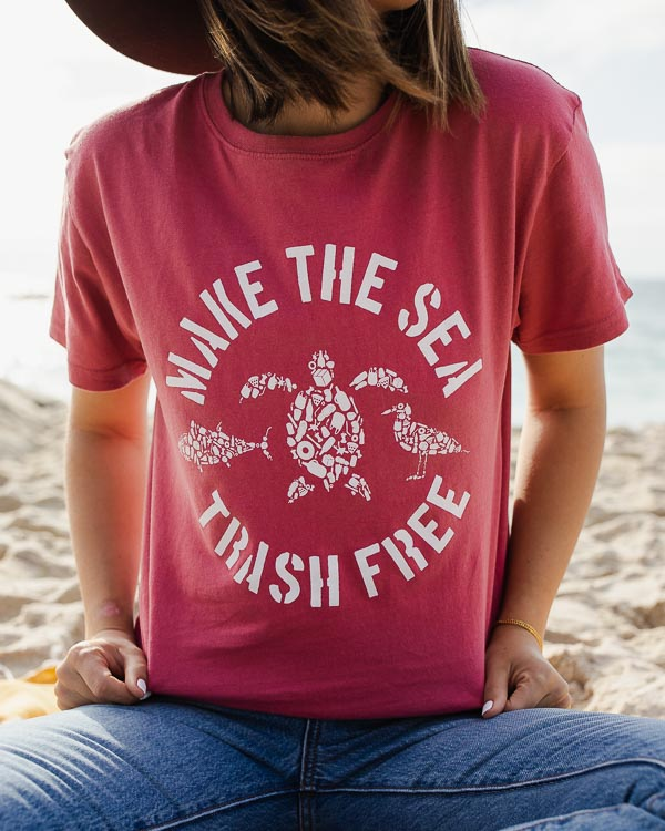 Burgundy Make the Sea Trash Free Eco Tee