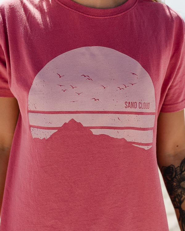 Burgundy Mountain Horizon Eco Tee