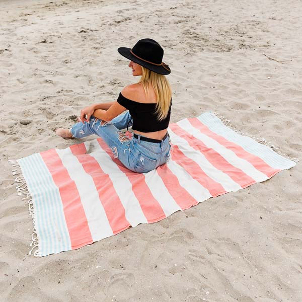 Dusty Rose Cabana Stripes Pocket Towel