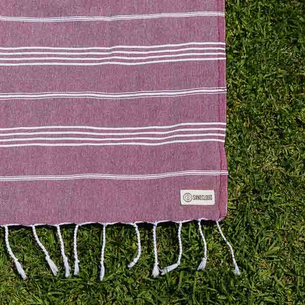 Burgundy XL Classic Stripes Recycled Towel