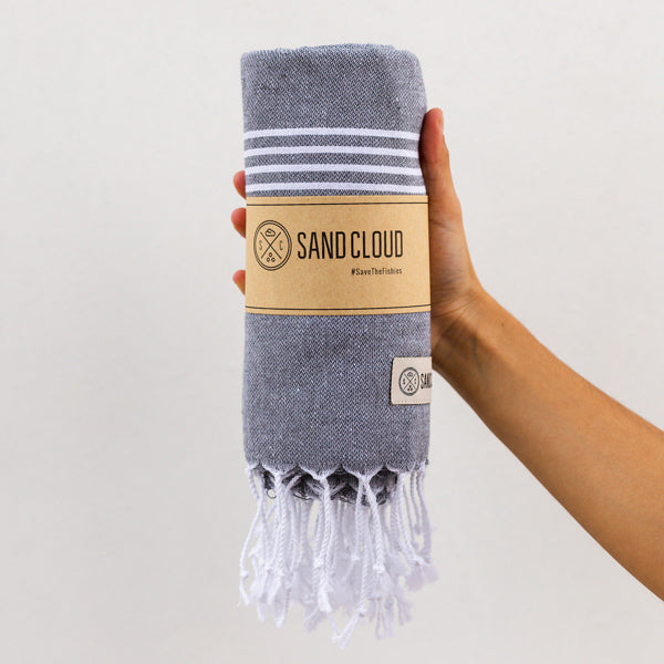 Grey Classic Stripes Recycled Towel