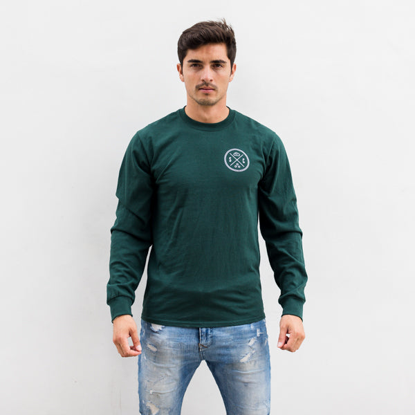 Sea Turtle Forest Green Long Sleeve Mens - Sand Cloud