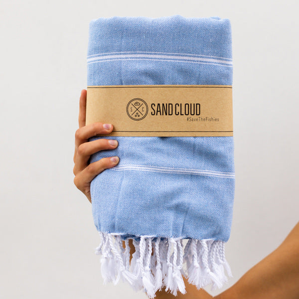 Light Blue XL Classic Stripes Recycled Towel