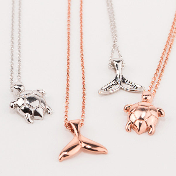 Rose Gold Whale Tail Necklace - Sand Cloud