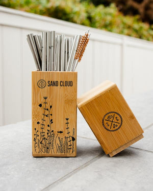 Bamboo Straw Holder with 20 Marine Inspired Straws