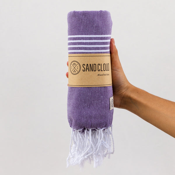 Plum Classic Stripes Recycled Towel