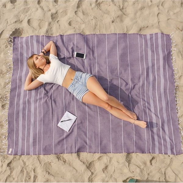 Plum XL Classic Stripes Recycled Towel