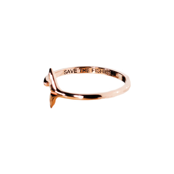 Rose Gold Whale Tail Ring - Sand Cloud