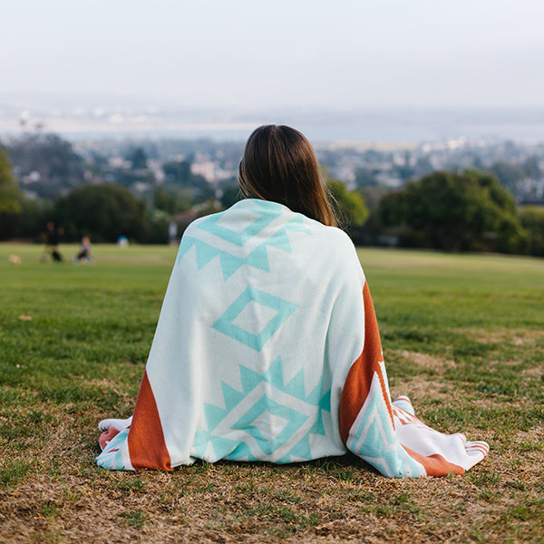 Red & Mint Aztec Blanket - Sand Cloud