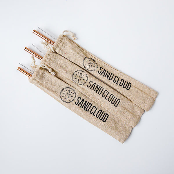 Rose Gold Metal Straw - 3 Pack