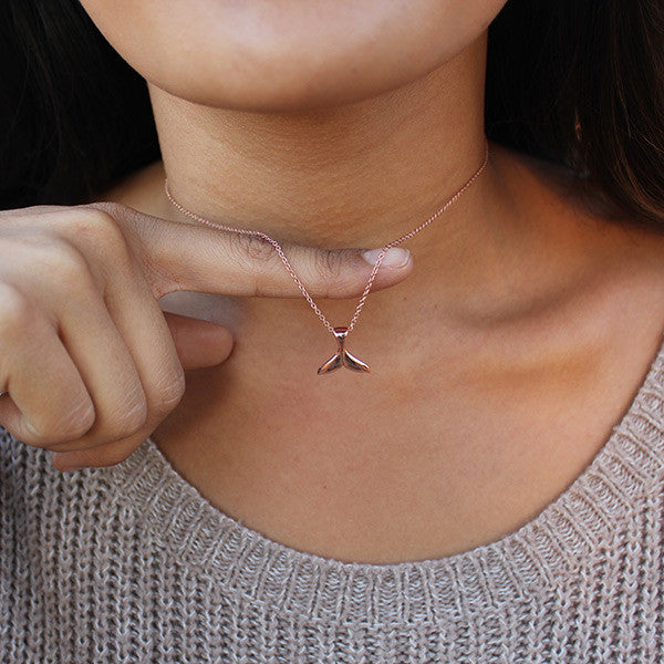 Rose Gold Whale Tail Necklace
