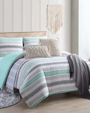 Mint Baja Striped Boho Comforter Set