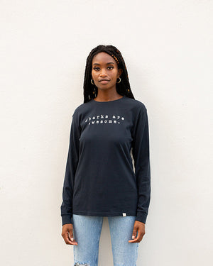 Sharks Are Awesome Black Organic Tee