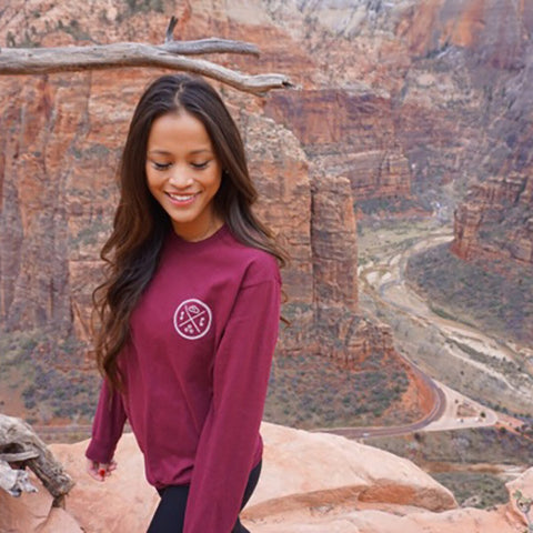 Burgundy Whale Tail Long Sleeve Tee