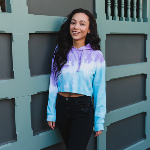 Cotton Candy Stripes Crop Hoodie