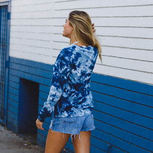 Blue Acid Wash Sea Shell Pocket Tee