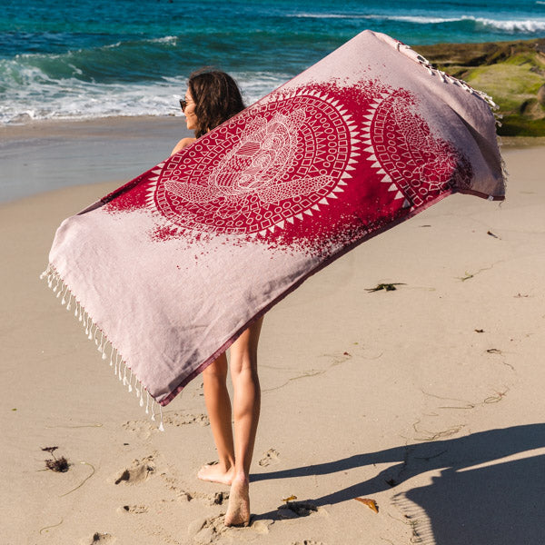 Mandala Sea Turtle Burgundy Towel