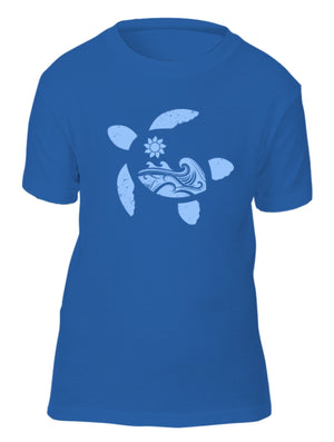 Blue Sea Turtle Waves Eco Kids Tee