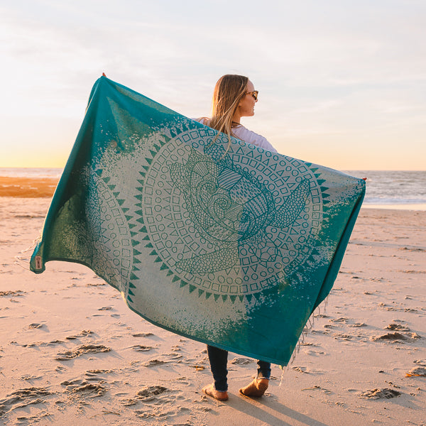 Mandala Sea Turtle Green Towel