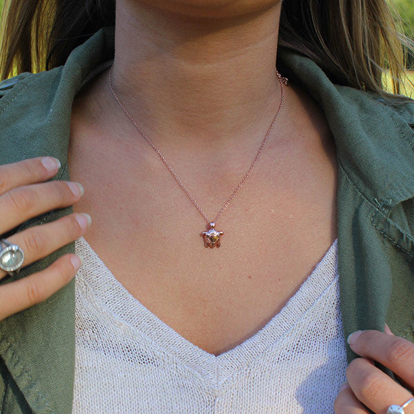 Rose Gold Sea Turtle Necklace