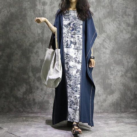 WHITE AND BLUE LONG ASIAN KAFTAN MAXI DRESS